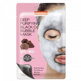 PUREDERM Deep Purifying Black O2 Bubble Näomask (Volcanic) 20g
