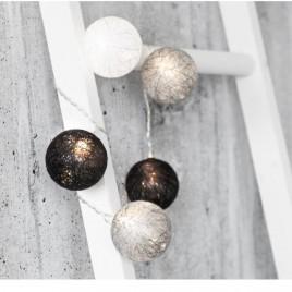 Puuvillast Led valguspallid must-valge-hall
